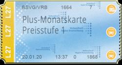 Plus-Monatskarte - Preisstufe 1