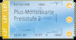 Plus-Monatskarte - Preisstufe 2