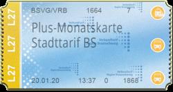 Plus-Monatskarte - Stadttarif BS
