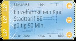 Einzelfahrschein Kind - Stadttarif BS (90 Min)