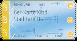 6er-Karte Kind - Stadttarif Braunschweig (90 min)