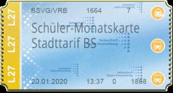 Schüler-Monatskarte - Stadttarif BS