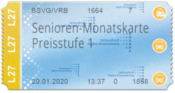 Senioren-Monatskarte - Preisstufe 1