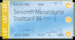 Senioren-Monatskarte - Stadttarif BS