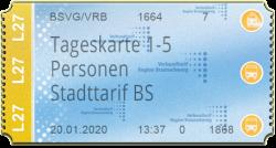 Tageskarte 1 - 5 Personen - Stadttarif Braunschweig