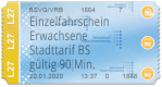 Einzelfahrschein Erwachsene - Stadttarif BS (90 Min) Sofortiger Fahrtantritt